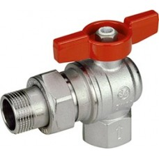 "Giacomini Angled Ball Valve with Red T-Handle M x F Size 3/4"" (Item: R789X005)"