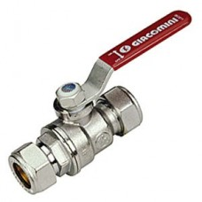 Chrome Plated Ball Valve - Compression Ends - Red lever - 15mm x 15mm (Item: R258CX002)