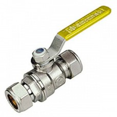 Chrome Plated Ball Valve - Compression Ends - Yellow lever - 15mm x 15mm (Item: R258CX022)